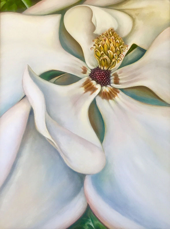 """Passion Flower,"" Oil on Wood Panel, 36"" x 48"", 2019"