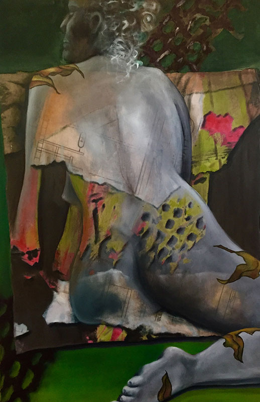 """""""Time is Draining from the Clock,"""" Oil on Paper on Board, 24"""" x 36"""", 2017"""
