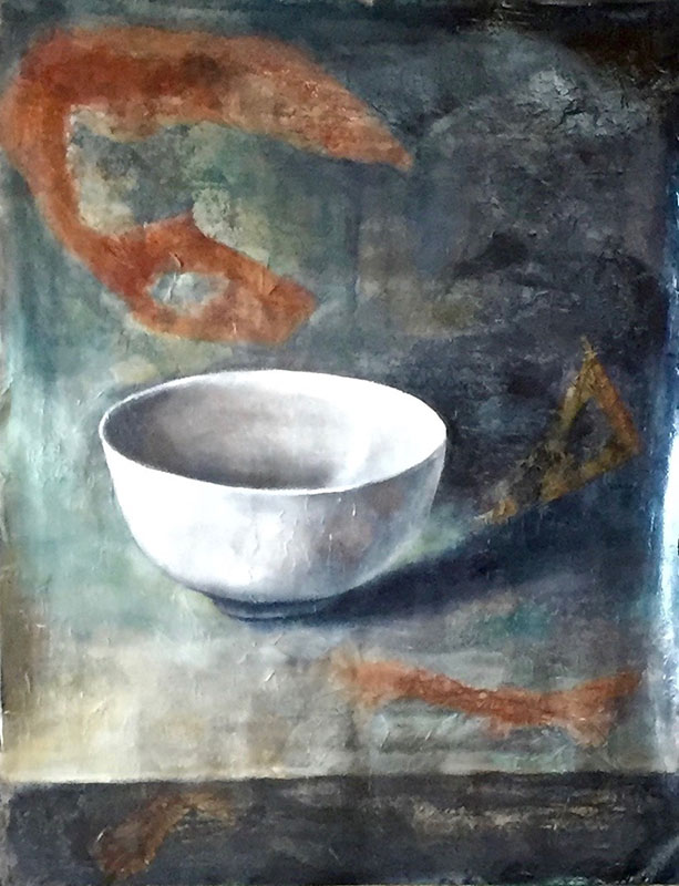 """Begging Bowl,"" Oil on Collage on Paper, 20"" x 24"", 2017"