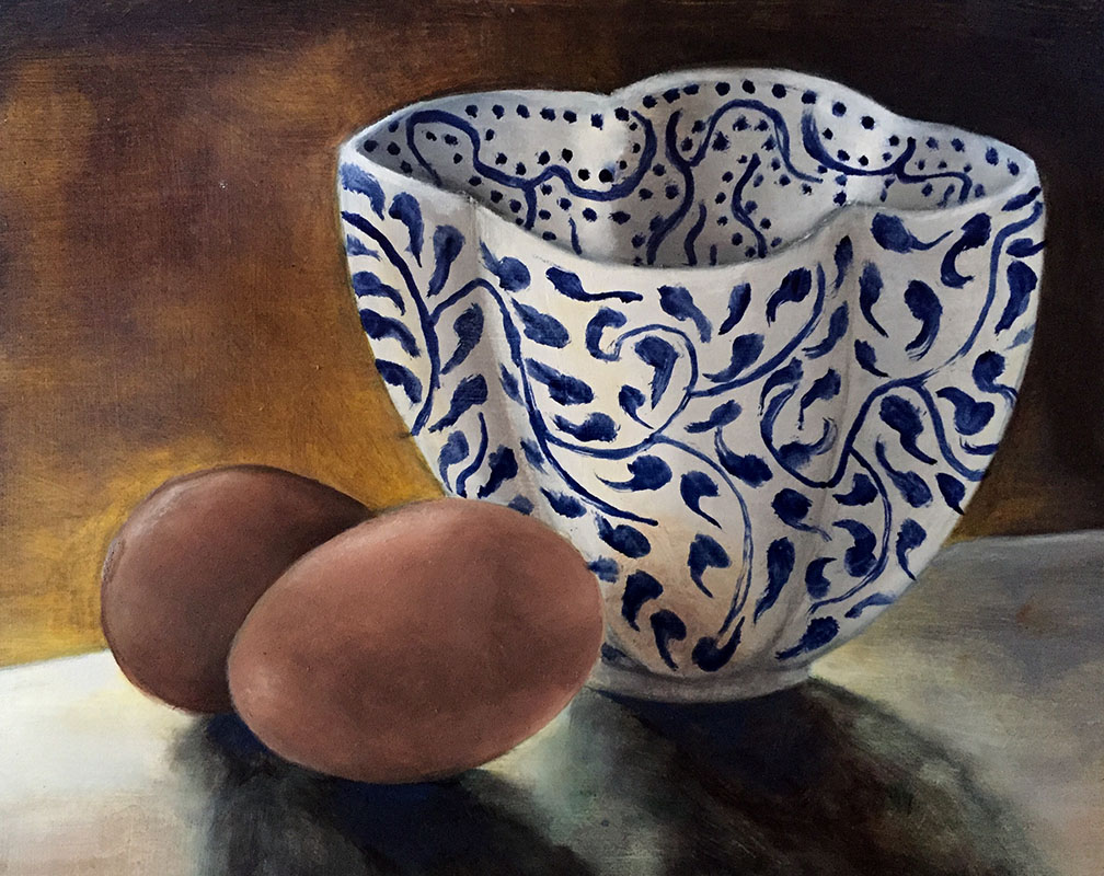 """Wedding Bowl,"" Oil on Board, 10"" x 8"", 2016 (Private Collection)"