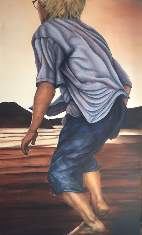 """The First Time Justin Came Back He Was Running"", Oil on Canvas, 36"" x 60"", 2015"