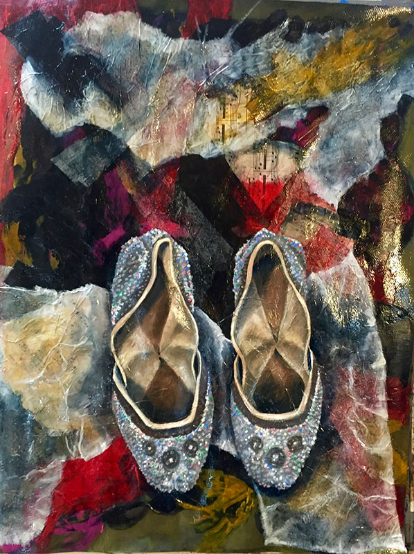 """Dancing Shoes,"" Oil on Collage on Paper, 20"" x 24"", 2017"