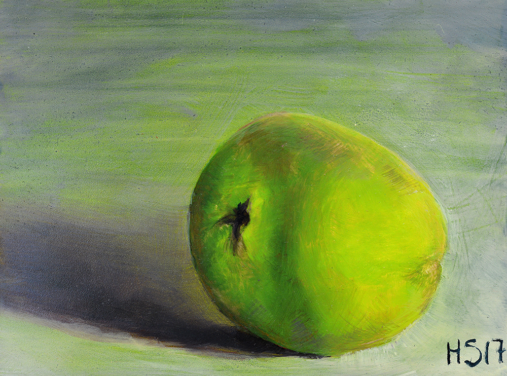 """Apple #3,"" Oil on Board, 8"" x 6"", 2017"