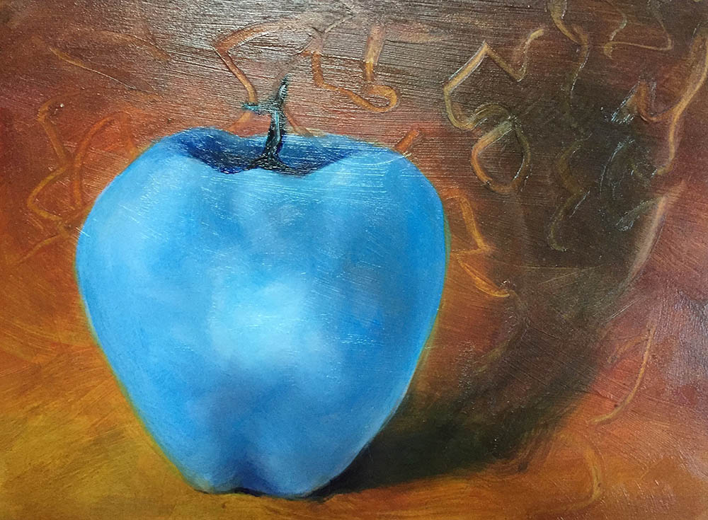 "Impossible Apple #2, Oil on Board, 8"" (w) x 6"" (h), 2017"
