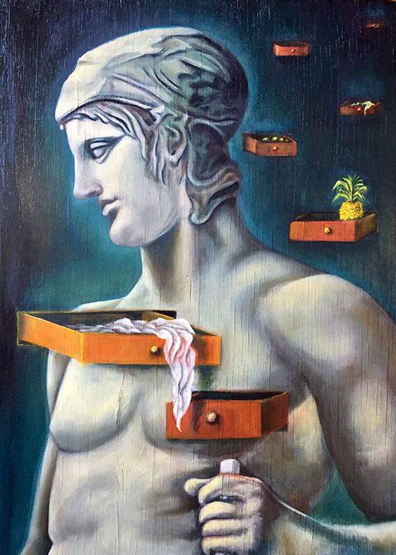 """The Functioning of Memory"", Oil on Wood, 37"" x 26.5"", 2019"